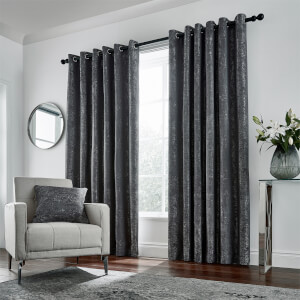 Peacock Blue Hotel Collection Roma Lined Curtains 66 x 90 - Gunmetal