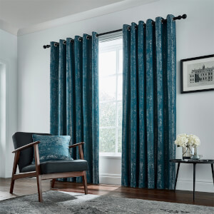 Peacock Blue Hotel Collection Roma Lined Curtains 66 x 72 - Emerald