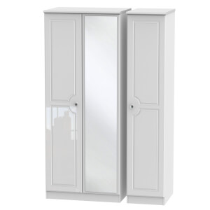Stonehaven Triple Mirror Wardrobe - White