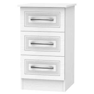 Milton 3 Drawer Bedside Table - White