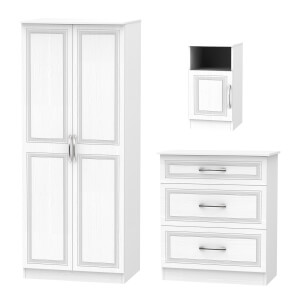 Milton 3 Piece Bedroom Furniture Set - White