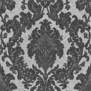 Belgravia Decor San Remo Damask Embossed Metallic Black Wallpaper