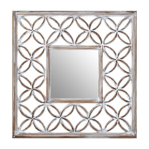 Antique Lattice Frame Wall Mirror - White