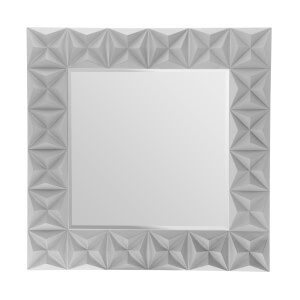 3D Effect Wall Mirror - Grey High Gloss