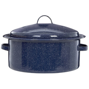 Round Self Basting Roaster - Blue Enamel