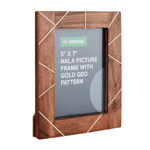 Nala Wooden Photo Frame with Gold Geo Pattern
