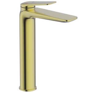 Bathstore Aero Tall Basin Mixer Tap - Brushed Brass