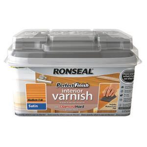Ronseal Perfect Finish Interior Varnish - Medium Oak Satin 750ml