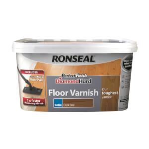 Ronseal Perfect Finish Diamond Hard Floor Varnish - Dark Oak Satin 2.5L