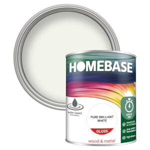 Homebase Interior Quick Dry Gloss Paint - Brilliant White 750ml