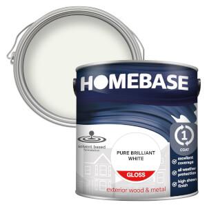 Homebase Exterior Gloss Paint - Brilliant White 2.5L