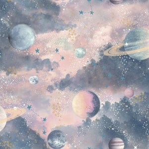 Arthouse Planets Kids Textured Glitter Multi Coloured Wallpaper