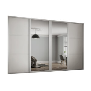 Shaker 4 Door Sliding Wardrobe Kit White Panel / Mirror with White Frame (W)2898 x (H)2260mm
