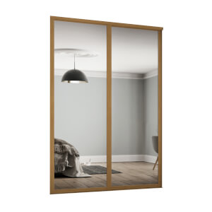 Shaker 2 Door Sliding Wardrobe Kit Mirror with Oak Frame (W)1753 x (H)2260mm