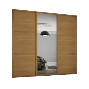 Shaker 3 Door Sliding Wardrobe Kit Oak Panel / Mirror with Oak Frame (W)2136 x (H)2260mm
