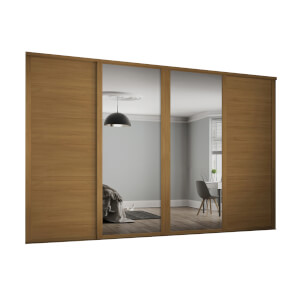 Shaker 4 Door Sliding Wardrobe Kit Oak Panel / Mirror with Oak Frame (W)3506 x (H)2260mm