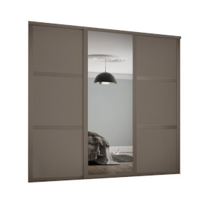 Shaker 3 Door Sliding Wardrobe Kit Stone Grey Panel / Mirror with Stone Grey Frame (W)2592 x (H)2260mm