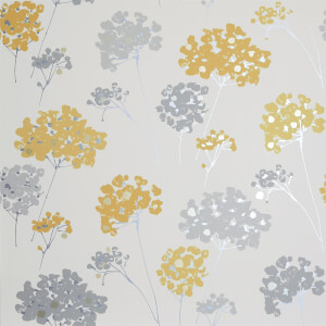 Arthouse Anya Floral Smooth Metallic Ochre Wallpaper