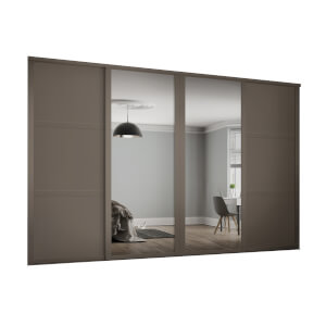 Shaker 4 Door Sliding Wardrobe Kit Stone Grey Panel / Mirror with Stone Grey Frame (W)3506 x (H)2260mm