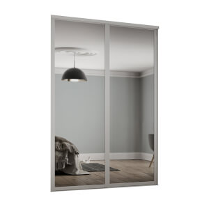 Shaker 2 Door Sliding Wardrobe Kit Mirror With Cashmere Frame (W)1753 x (H)2260mm