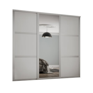 Shaker 3 Door Sliding Wardrobe Kit Cashmere Panel / Mirror (W)2592 x (H)2260mm