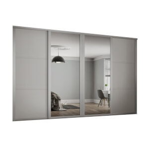 Shaker 4 Door Sliding Wardrobe Kit Cashmere Panel / Mirror (W)2290 x (H)2260mm