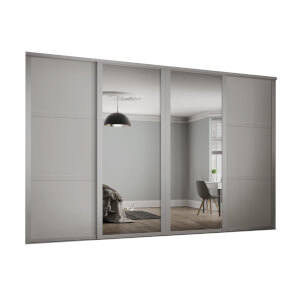 Shaker 4 Door Sliding Wardrobe Kit Cashmere Panel / Mirror (W)2898 x (H)2260mm