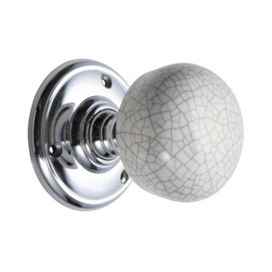 Sandleford Pittville Ceramic Mortice Knob Set - Grey Crackle & Polished Chrome
