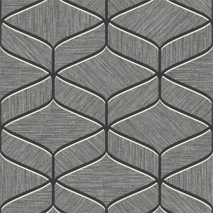 Belgravia Decor Luciano Geometric Embossed Metallic Gunmetal Grey Wallpaper