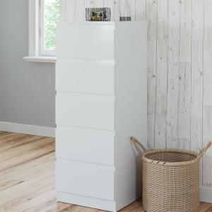Modular Bedroom Handleless 5 Drawer Chest - White