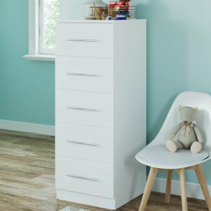 Modular Bedroom Slab 5 Drawer Chest - White