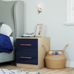 Modular Bedroom Slab Bedside Chest - Navy Blue