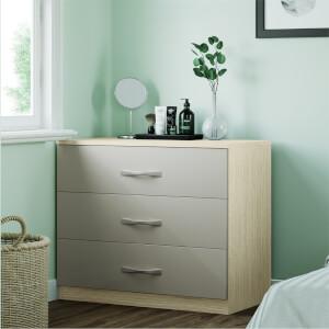Modular Bedroom Slab 3 Drawer Chest - Cashmere