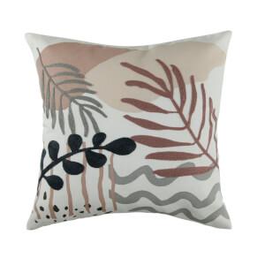 Embroidered and Print Leaf Cushion - Blush & Grey