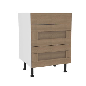 Timber Shaker Oak 600mm 3 Drawer Premium Unit