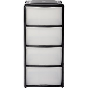 4 Drawer Storage Tower - Black
