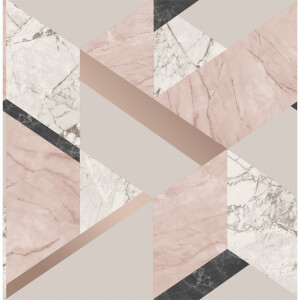 Fresco Marblesque Geometric Wallpaper - Pink
