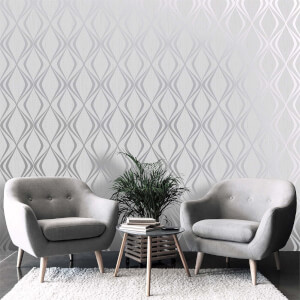 Belgravia Decor Amelie Grey Geometric Wallpaper