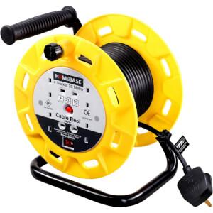Masterplug 4 Socket Open Drum Cable Reel 20m Yellow/Black