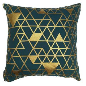 Foil Print Cushion - Teal & Gold