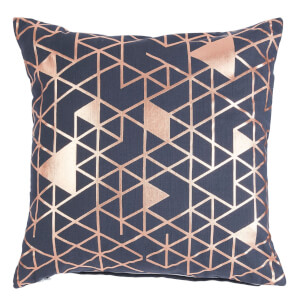 Foil Print Cushion - Grey & Rose Gold