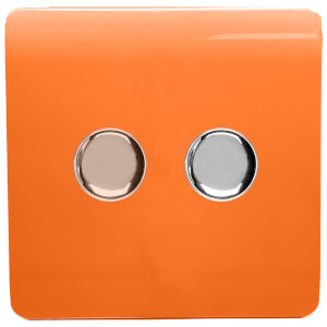 Trendi Switch 2 Gang 120 Watt LED Dimmer Switch in Orange