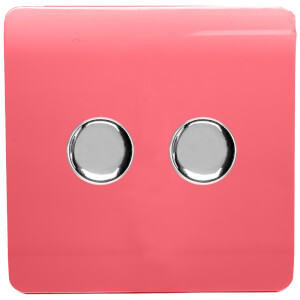 Trendi Switch 2 Gang 120 Watt LED Dimmer Switch in Strawberry