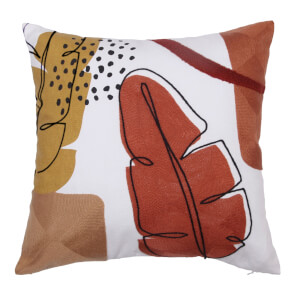 Abstract Leaf Cushion - Rust