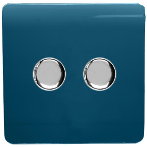 Trendi Switch 2 Gang 120 Watt LED Dimmer Switch Midnight Blue
