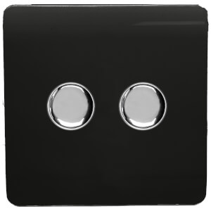 Trendi Switch Double 120 Watt LED Dimmer in Black