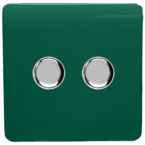 Trendi Switch 2 Gang 120 Watt LED Dimmer Switch in Dark Green