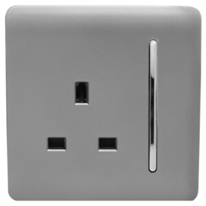 Trendi Switch 1 Gang 13Amp Switched Socket in Light Grey
