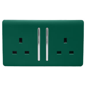 Trendi Switch 2 Gang 13Amp Long Switched Socket in Dark Green