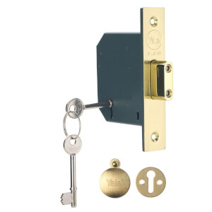 Yale PM552 5 Lever Deadlock 64mm - Brass